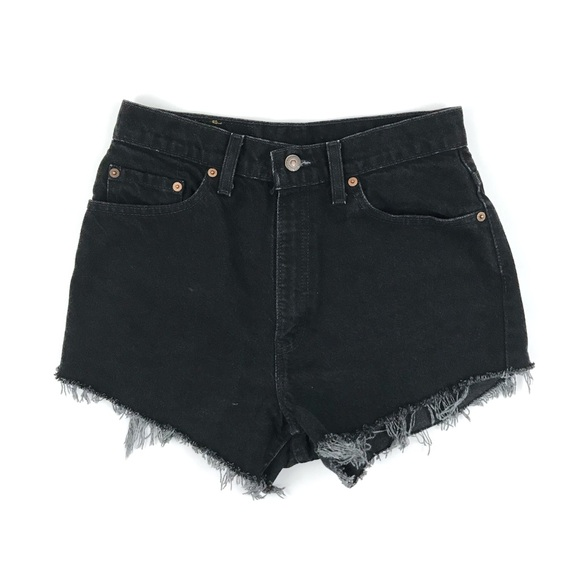 0bd98688 Levi's Shorts | Levis Vintage Black Denim Cut Off Jean | Poshmark